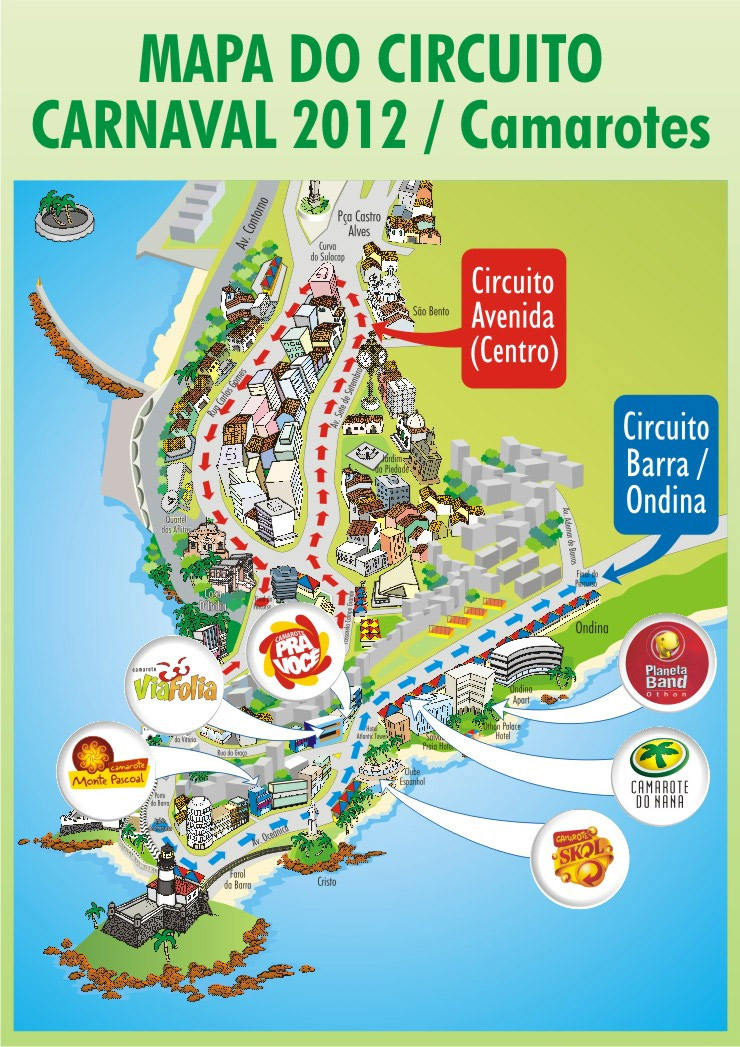 mapa do circuito carnaval salvador 2012